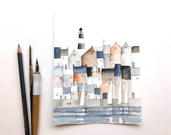 aquarelle originale d'une ville portuaire avec phare