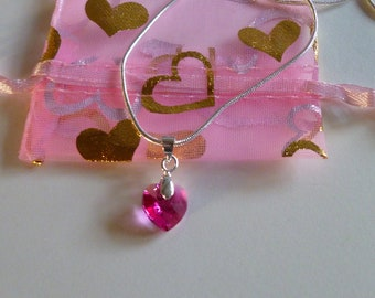 Heart Pendant Necklace Made From Swarovski Crystal Element With Sterling Silver Snake Chain