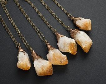 Raw Citrine Necklace Bronze Citrine Necklace Gemstone Necklace Rough Citrine Crystal Pendant Boho Layering Necklace November Birthstone