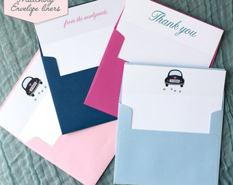 Printed Matching Envelope Liner   A2 Sized Liner   Wedding Thank You Card with Vintage Car Theme   Thank You From The Newlyweds or Mr & Mrs