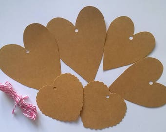 6 labels kraft different heart sizes + hot pink twine baker 1.50