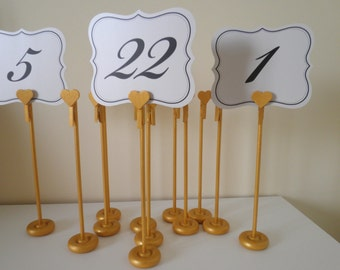 New Heart Design! Set Of 25 Handmade Extra Tall Gold Wood Table Number Holders - Wedding Guest Table Number Stands - Gimmering Elegance