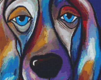 Modern cross stitch kit by Thomas Fedro 'The Regal Beagle' counted cross stitch, Beagle cross stitch, counted cross stitch, Pop Art stitch