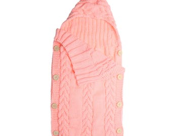 Hoodie Baby Swaddle- Hand knit- Newborn-Infants