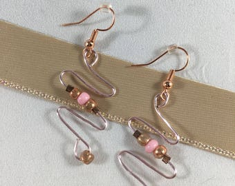 Copper and Pink Drop Earrings
