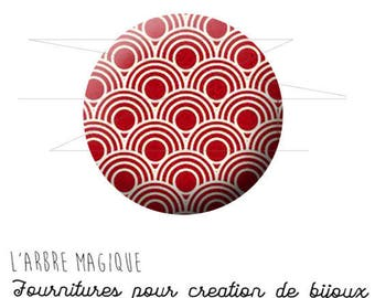 Cabochon fancy 25 mm Japan ref red geometric pattern 1577