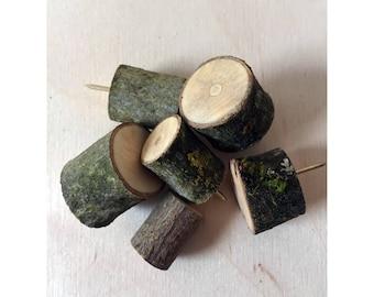 Wood branch push pin - Maple