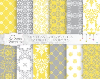 Yellow damask mix - 12 digital papers - INSTANT DOWNLOAD