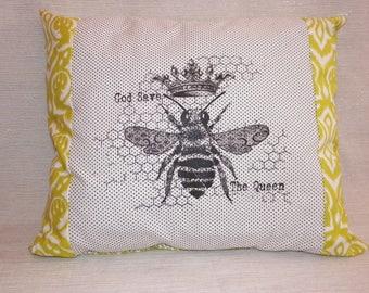 Decorative Queen Bee Pillow Screenprint God Save the Queen