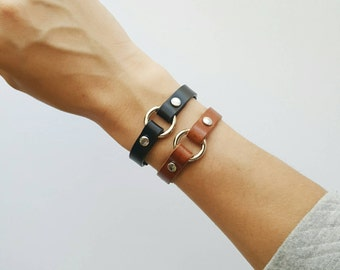 Mini O-Ring Leather Bracelet // Womens Leather Bracelet // Simple Thin Leather Wristband // Leather Cuff // High Quality