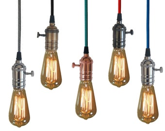Plug In 15FT Pendant Lighting - 5 Color choices - Includes Edison Bulb - Modern Hanging Lamp - Industrial Light Vintage Antique Fabric Cord