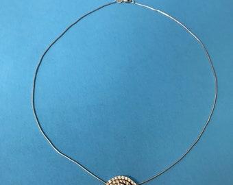 Elegant Diamond Cluster 14K GG White Gold Necklace