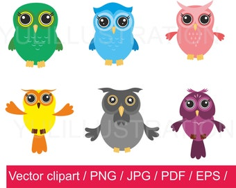 Owl Clipart / owls Clip Art / owls vector / instant download / for personal and commercial use / pdf / png / jpg / ai /