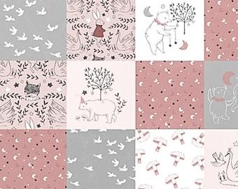 Woodland Animals, Minky Baby Girl Blanket, Fox Bear Rabbit Pink Grey Gray, Woodland Baby Quilt, Girl Crib Quilt, Patchwork Baby Quilt
