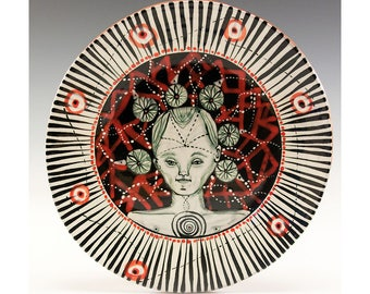 Dessert Plate - Painting by Jenny Mendes on a round ceramic dessert plate - Dream State