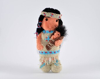 Native American girl with baby Amigurumi Crochet Pattern