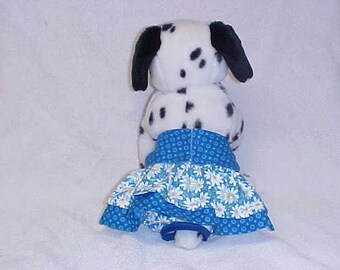 Female Dog Diaper Britches Doggie Panties Pet Training Pants Wrap Skirt Size XSmall To 5XLarge Blue Daisy Print Fabric