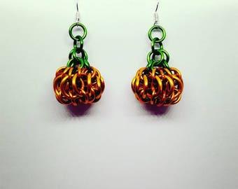 Pumpkin Chainmaille Earrings