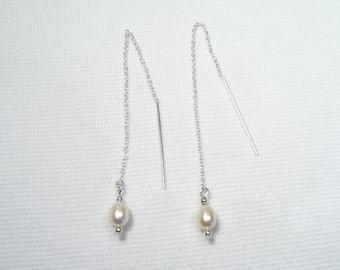 Lyn's Jewelry Freshwater Pearl Threader Earrings Sterling Silver