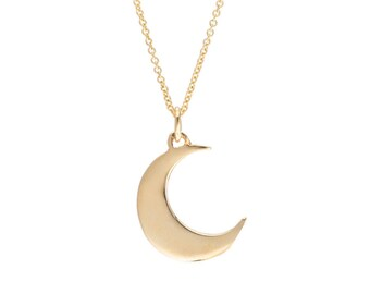 Gold Crescent Moon Necklace, Gold Moon Necklace, Gold Moon Pendant, 14k Gold Necklace, Gift Ideas, Fine Jewelry