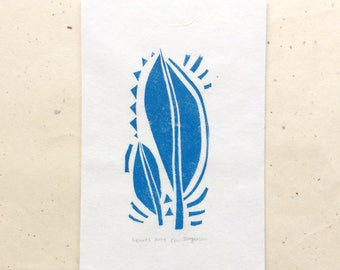 mini linocut - LEAVES // 4x6 art print // printmaking // block print // blue // nature // leaf // original art // miniature // small print