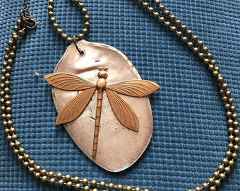 Flattened vintage spoon necklace with bronze dragonfly