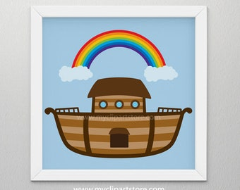 Clipart - Noah's Ark / Bible Stories, Ship, Boat (Single Image) - vector graphics, digital clip art, digital images, commercial use clipart