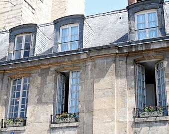 Paris Photograph - French Home Decor - Parisian Architecture Photography - Photo of Windows - Light and Elegant Wall Art Silver Blue