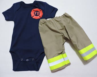 Firefighter Baby Boy Outfit, option to personalize shirt, baby shower, firefighter Coming home outfit, Halloween costume, turnout gear look