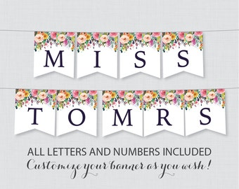 Printable Banner with ALL Letters and Numbers - Floral Bridal Shower Decoration - Shabby Chic Garden Bridal Shower Banner 0002-B