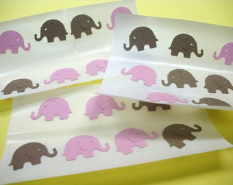 ELEPHANT envelope STICKER SEALS Pink and Brown for Baby Shower Set of 24