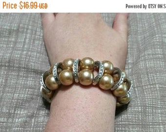 On Sale Glass Bead Large Rose Gold Faux Pearl and Silver Toned Rhinestone Expandable Bracelet Costume Jewelry Fashion Accessory