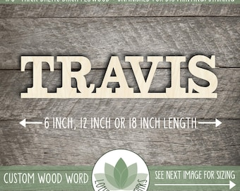 Custom Wood Word, Wooden Name, Custom Laser Cut Wood Name, Nursery Decor, DIY Laser Cut Wood Shapes, Uppercase Letters