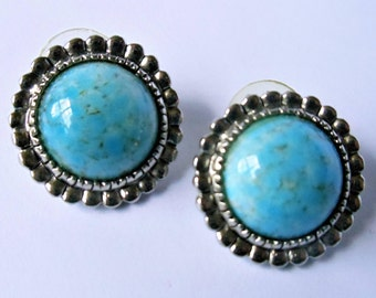 Vintage Faux Turquoise Button Earrings, Blue Cabochon Silver Tone Pierced Earrings, Round Button Earrings, Blue Earrings, Blue Jewelry,1990s