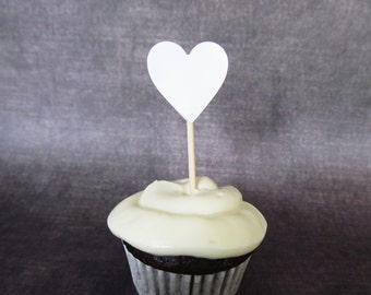 24 White Heart Cupcake Toppers, Mini Food Picks, Party Decor, Weddings, Showers, Summer, Double-Sided, Love, Valentine's Day Decor