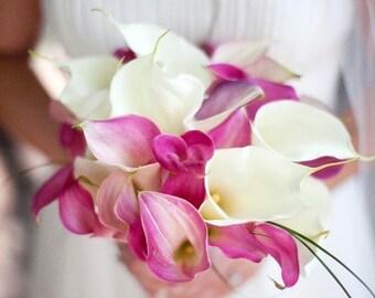 Calla Lily Wedding Bouquet, Bridal Bouquet, Bridesmaid Bouquet, Flower Bouquet, Artificial Bouquet, Elegant Bouquet
