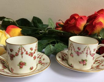 Crescent English China Coffee Can Cup Saucer Pink Roses fine bone china set of two x 2 collectors old china demitasse cabinet display