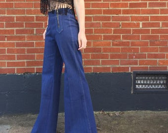 Vintage 70's Bellbottom jeans/denim/zippers/Size:3/4