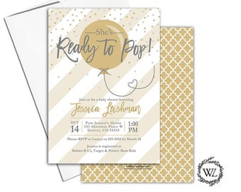 Ready to pop baby shower invitation gender neutral, gold and gray, stripes, confetti with envelopes - PRINTED - WLP00774
