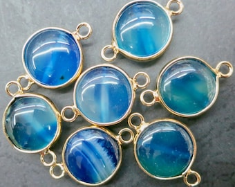 10pcs/lot -Antique Blue Agate 15mm round connector beads with gold plating wrapped- Double Bail- #28