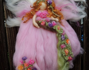 Summer Colors Garden Blessing Fairy-  Needle felted wool fairy angel Waldorf inspired creation by Rebecca Varon aka Nushkie