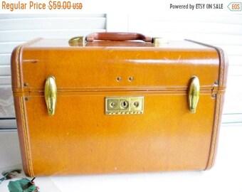 Sale Samsonite Leather Train Case Vintage Travel Train Trunk, Makeup Train Trunk Travel Storage Case,Wedding Card Holder, Home Decor