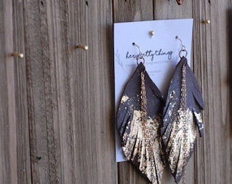 Gold Flake Leather Feather Chains Dangle Earrings || Four Color Options || Hypoallergenic || Handcut