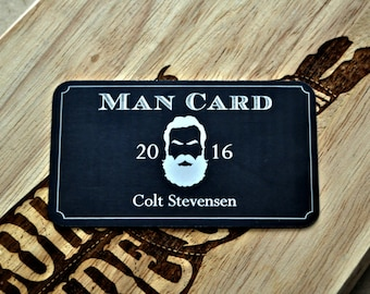 Personalized Beard Man Card Laser Etched Metal Wallet Card  21 Birthday Bachelor, Groomsman Becoming a Real Man Lumberjack