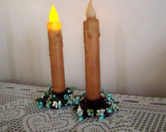"""Primitive Candle Timer tapers 7"""" + star holders with ivory pip berries,  set of 2"""
