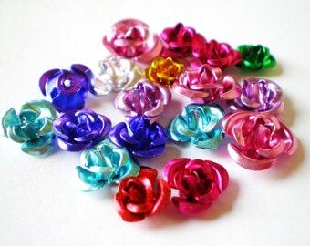 30 petite aluminum roses assort mix 6mm 12mm ALU230
