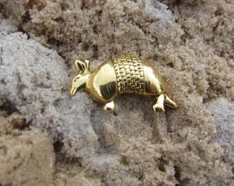 Gold Armadillo Lapel Pin-CC245G- Armadillo, Wildlife, Armored Animals