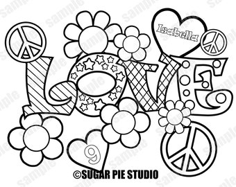 Peace love coloring page activity Birthday Party Favor childrens kids coloring page activity Printable PDF or JPEG file