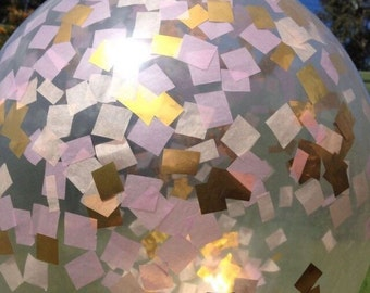 Giant Round Clear Confetti Balloon - Gold, Peach Blush and Pink