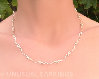 Necklace, Gold and silver handmade links, Mixed metal necklace, 2-tone unusual link necklace,